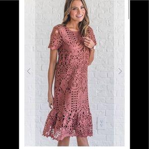 Pink Lily Mauve Lace Flounce Mini Dress Size M